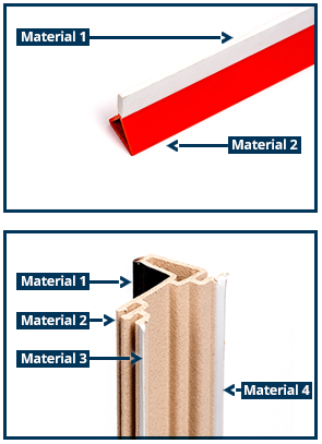 Examples of dual and tri-extruded custom profile extrusions by Formtech